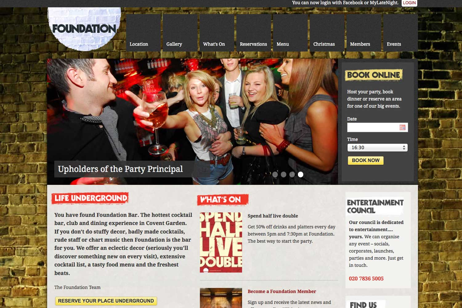 screenshot showing the design of www.foundation-bar.co.uk