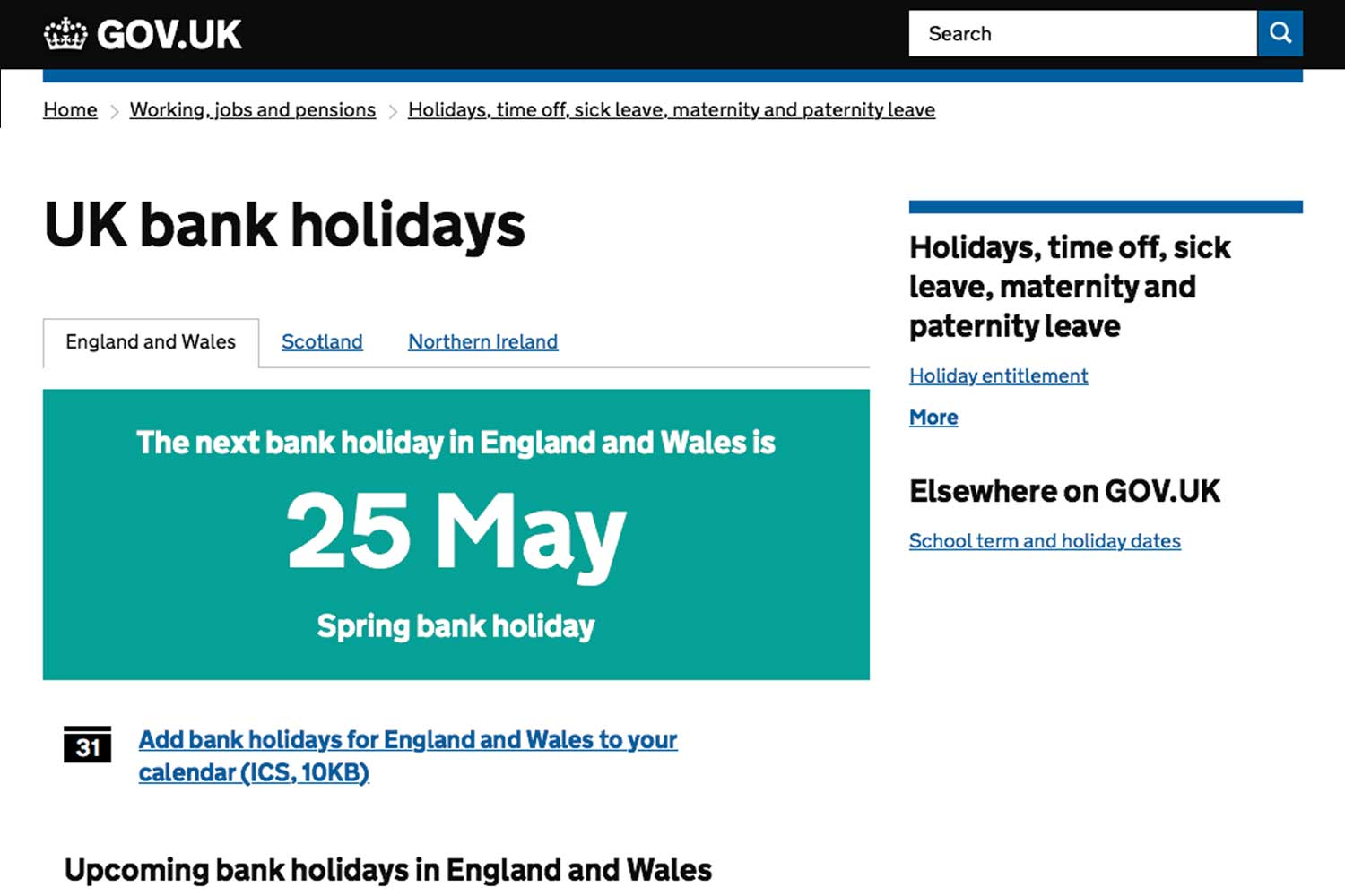 screenshot of GOV.UK's Bank holidays page