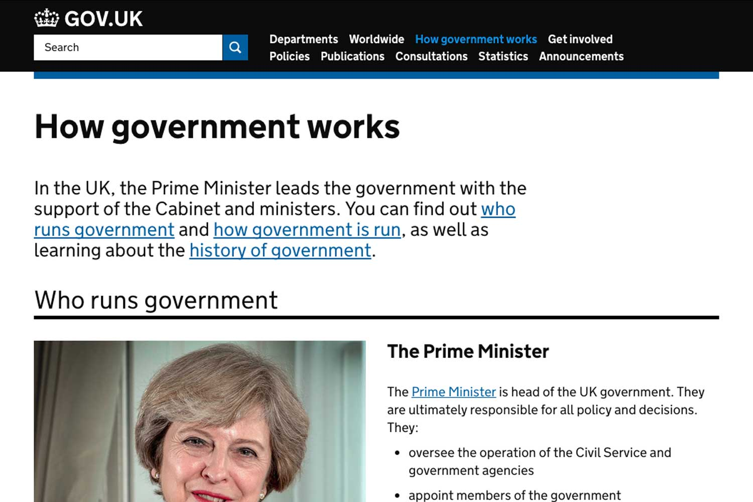 screenshot of GOV.UK's How Government works page