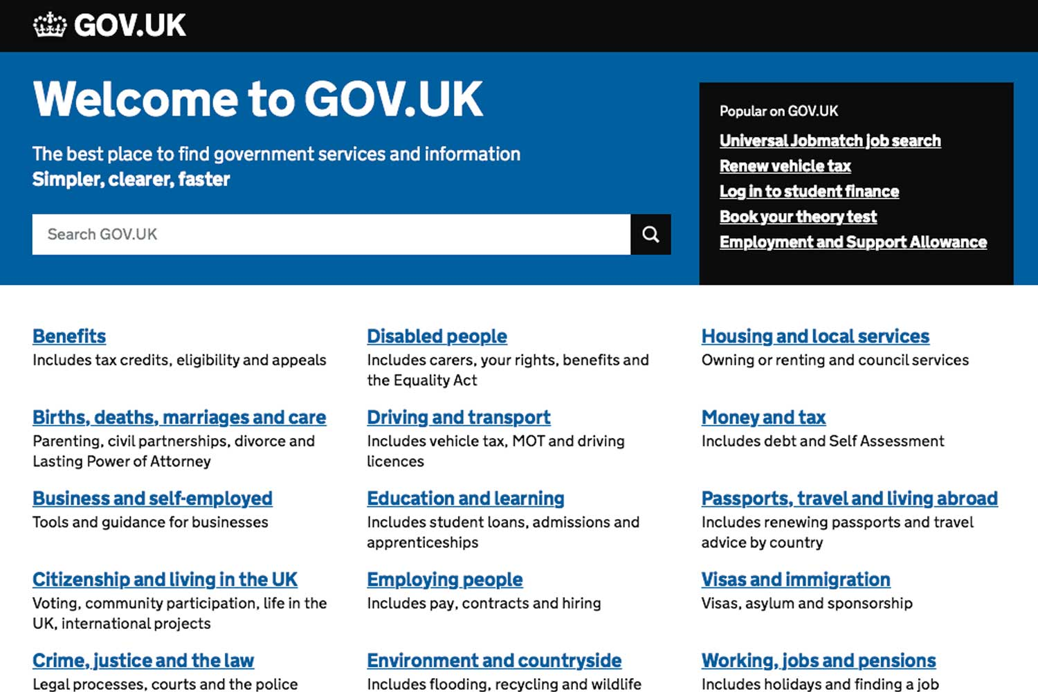 screenshot of GOV.UK's homepage