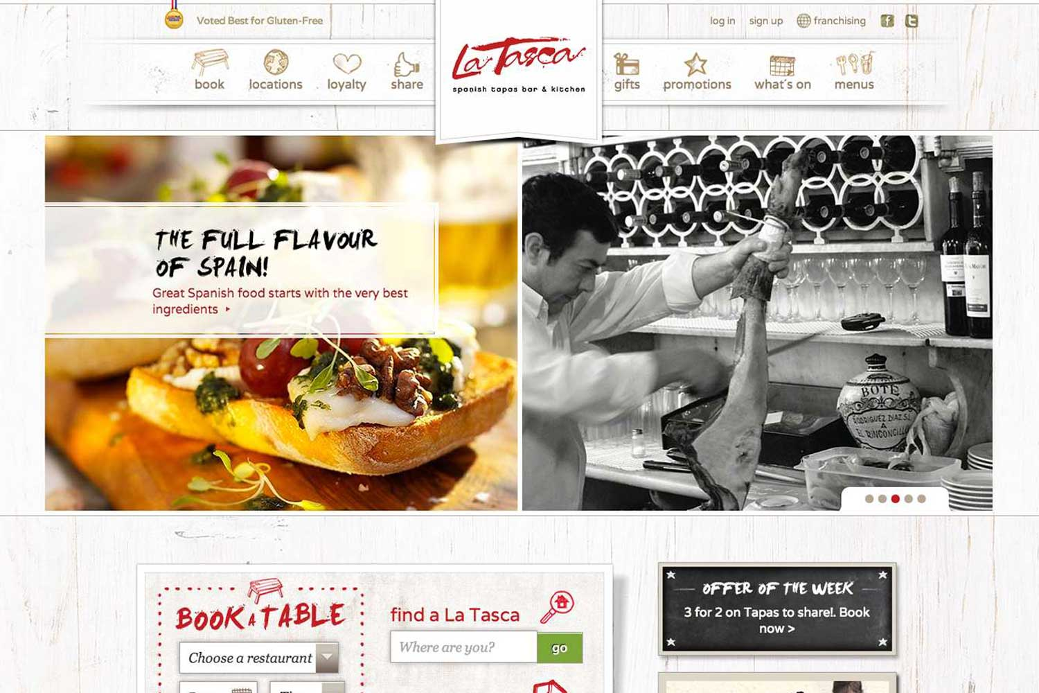 screenshot showing the design of latasca.com