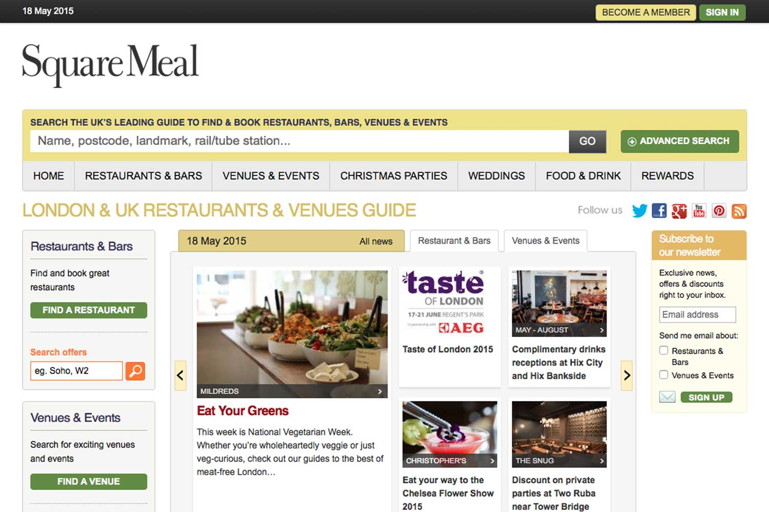 screenshot showing the design of www.squaremeal.co.uk